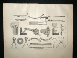 Miles Practical Farriery C1875 Antique Print. Veterinary Instruments and Apparatus